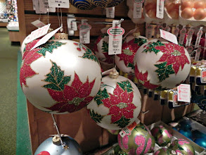 Photo: These glittery poinsettia ornaments would look great with the traditional Christmas plaid ribbon I use on our tree!