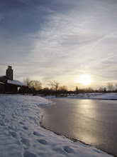 Photo: Weak sunlight gliding across an iced pond at Cox Arboretum and Gardens in Dayton, Ohio.