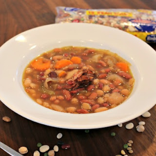 Slow Cooker 15 Bean Soup with Leftover Ham Bone.