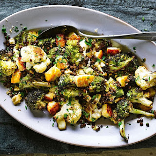 Jamie Oliver's vegetarian brassica salad with lentils and haloumi