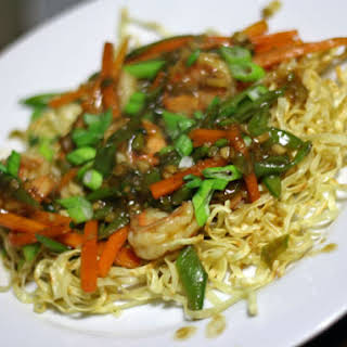 Pan-Fried Noodles with Shrimp, Snap Pea, and Carrot.