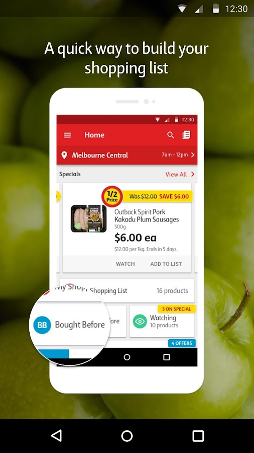 Coles App- screenshot