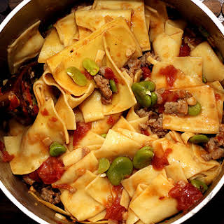 Fresh Pasta with Favas, Tomatoes and Sausage.