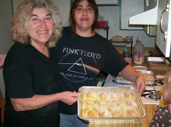 My Mom And Mother Maria!  We Spent The Day Making Our Family's Swedish Roll's!  This Recipe Goes Way Way Back On My Grandmother's Side!  Best Swede Rolls Around!