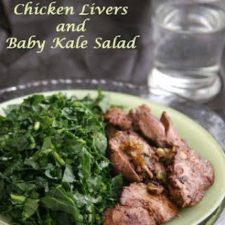 sautéed Chicken Liver Recipe with Baby Kale Salad.