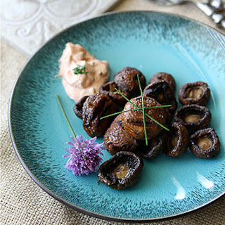 Grilled Mushrooms with Smoked Paprika & Chive Dipping Sauce.