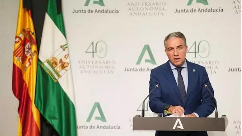 El consejero de la Presidencia, Administración Pública e Interior de la Junta de Andalucía, Elías Bendodo. / JUNTA DE ANDALUCÍA