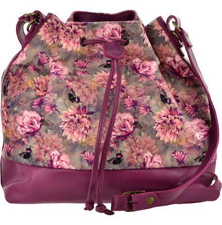 Säckväska velour/skinn purpur med blommigt foder