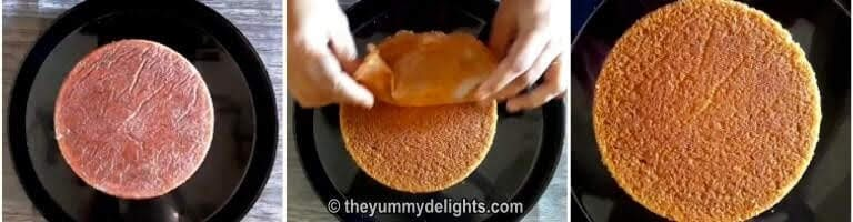 removing the butter paper from the sponge cake baked in a pressure cooker