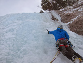 Photo: James leading the second ice pitch.