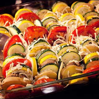 Vegan Vegetable Tian – Zucchini, Tomato, Summer Squash, Potato, Mushrooms, Spinach, Onion, Vegan Cheese.