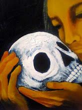 Photo: 接吻 /canvas, acryl, 2005  愛おしいその人は、ただの軽い骨になり、 話しかけても何も響かなかった。 ただの骨は安らかで、私も同じになりたいと思った。 「逃げるのか?」 何も語らなかったはずの骨がそう言ってカタカタと笑った。 私は悲しくて涙をこぼした。