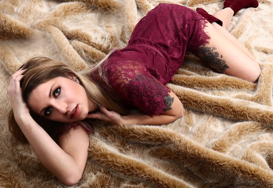 Stephanie on the fur by Len Lambert - People Fashion ( fur, lips, burgandy, boots, tats, eyes )