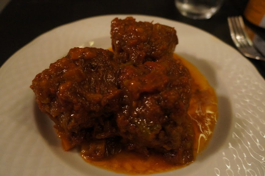 Coda alla vaccinara (oxtail braised in herbs, tomatoes, and celery)