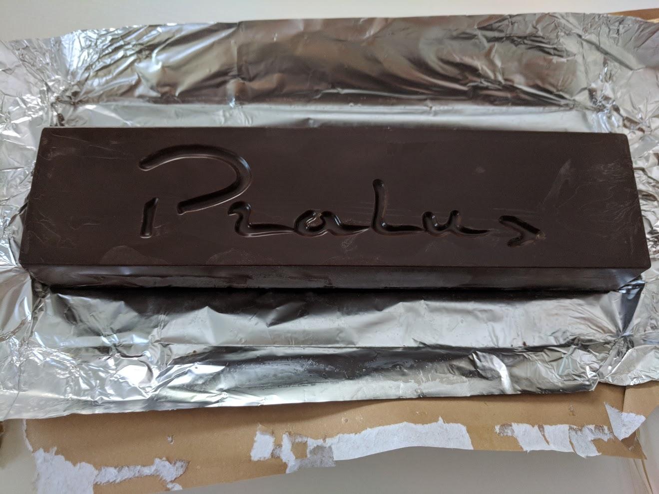 75% pralus pistachio praline bar open