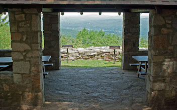Photo: Inside the stone and wood picnic pavilion at Mt. Ascutney State Park by Paul Anderson