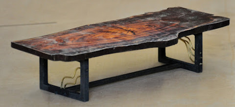 Photo: coffee table model   http://dorsetcustomfurniture.blogspot.com/2015/11/a-live-edge-claro-walnut-slab-coffee.html