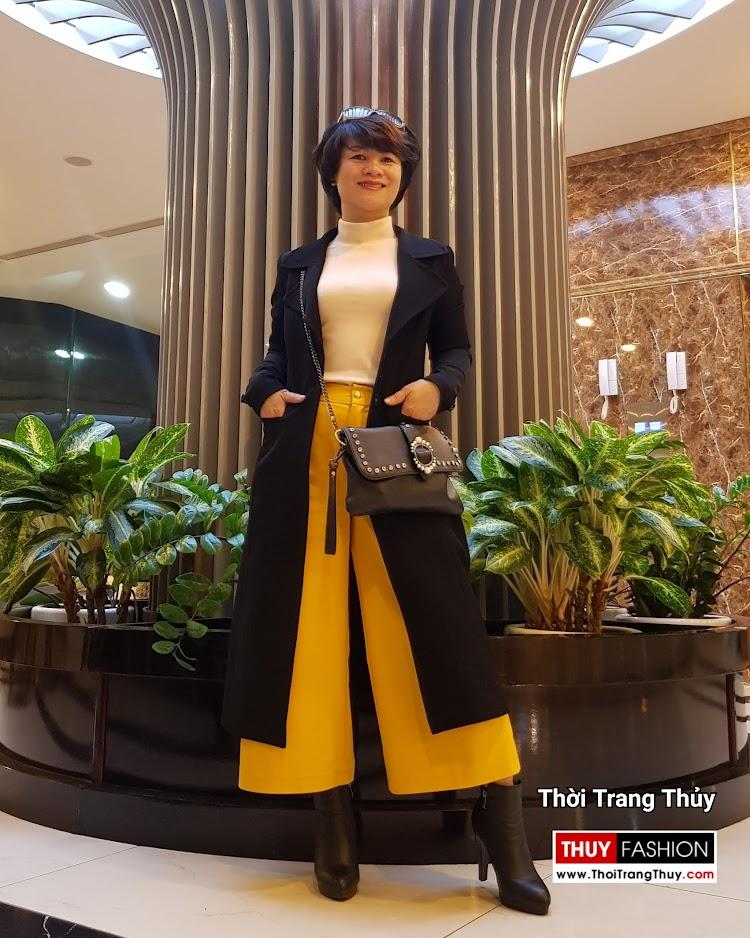 Áo khoác dạ nữ dáng dài màu đen cổ vest rộng V694 thời trang thủy hải phòng