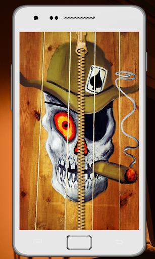 Skull Zipper Screen Lock