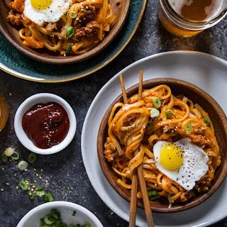 Pork & Kimchi Udon Noodles.