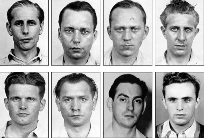Mugshots of the eight Nazi saboteurs.