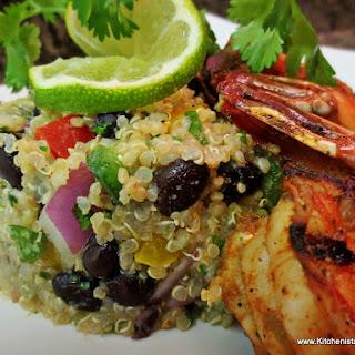 Mexican Quinoa Salad & Grilled Shrimp