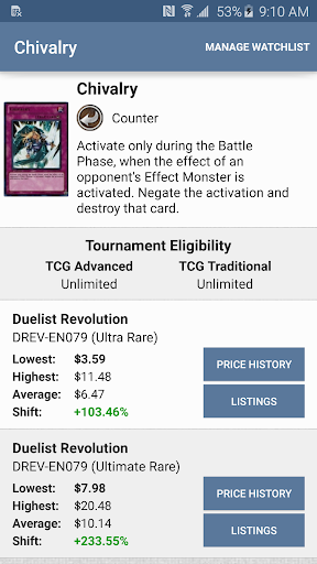 Card Prices: Yu-Gi-Oh Edition