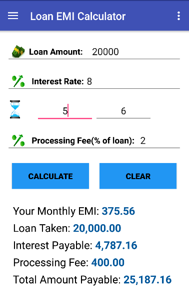 Loan Interest Earned Calculator