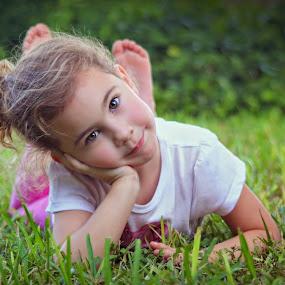 by Katie McKinney - Babies & Children Child Portraits ( child, pose, laying down, girl, nature, grass, children,  )