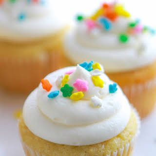 Double Vanilla Sour Cream Cupcakes.
