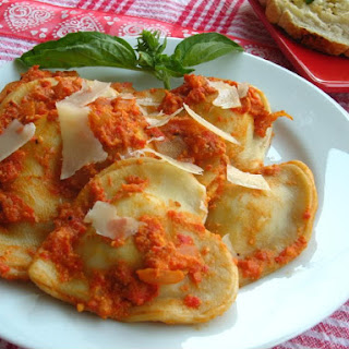 Billion Cheese Ravioli with Red Pepper Pancetta Sauce
