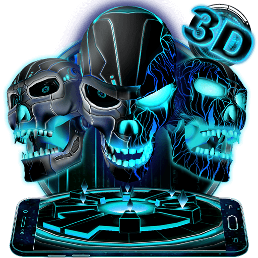Neon Tech Evil Skull 3D Theme file APK for Gaming PC/PS3/PS4 Smart TV