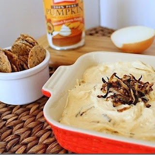 Pumpkin Goat Cheese Dip with Caramelized Onions