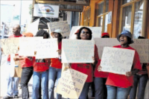 CRYING FOUL: Tourism and Parks workers in Polokwane protesting over pay hike. Pic: ELIJAR MUSHIANA. 12/10/2009. © Sowetan.