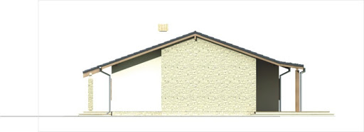 Antek II wersja B z pojedynczym garażem paliwo stałe - Elewacja prawa