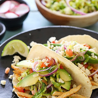 Grilled Chicken Tacos with Lettuce Slaw, Avocado and Cotija Recipe