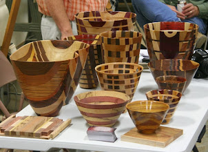 Photo: Our demonstrator for the evening, Bill Peirce, brought this selection of his laminated vessels seen from the side...