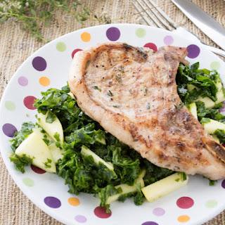 Grilled Pork Chops with Kale Apple Salad Recipe