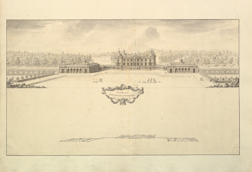 West Front of Houghton Hall in Norfolk, Perspective