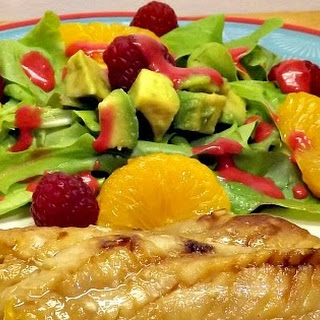 Grilled Red Wine and Honey Perch with Raspberry Avocado Salad