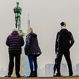 Checking Out the Statue by Richard Michael Lingo - People Street & Candids ( street, candids, statue, people, europe )