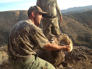 Photo: Ernie Meeske's Desert Bighorn Sheep Hunt in AZ Unit 22 with Jay Scott.  Ernie's ram was AZ Game and Fish checkout score was 187 6/8 Gross and 186 5/8 Net.  The ram has 16 4/8 bases and his long horn is 38 5/8.