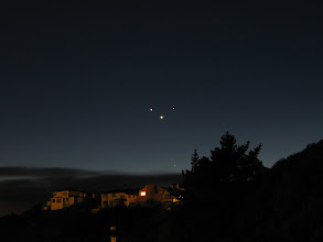 Photo: Jupiter, Mercury, Venus (brightest) and Mars, 6:21am 13 May 2011