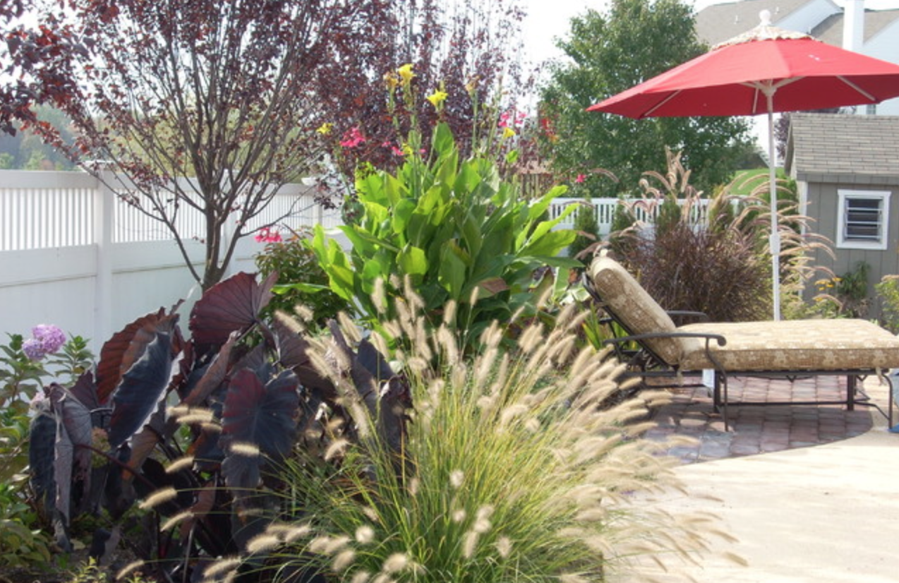 Landscaped garden arrangement in Wayne, PA