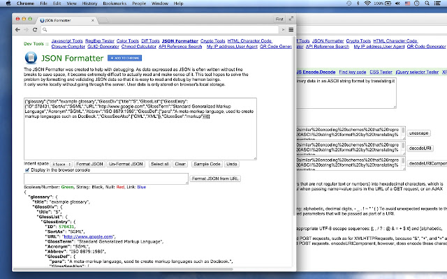 chrome extensions json formatter