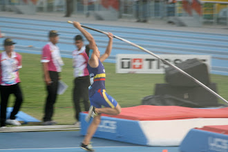 Photo: The progression of a pole vault: Ready for lift-off