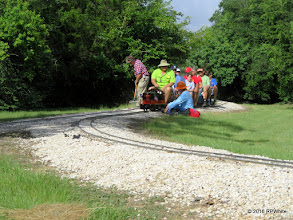 Photo: Clyde Brown with rake moving ballast.  Greg Moore is the engineer.  George Leventon repairing track.   HALS Public Run Day  2016-0716  RPWhite