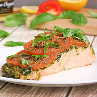 Pesto Salmon With Tomatoes.