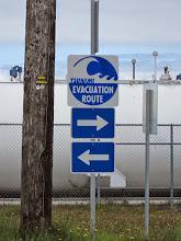 Photo: Confusing evacuation instructions.