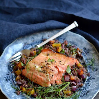 Indian Spiced Salmon Over Wild Rice Medley